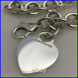 10.5 Extra Large Tiffany & Co Sterling Silver Blank Heart Tag Charm Bracelet