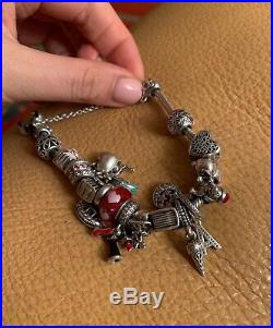 100% Authentic Pandora Charm Bracelet 18 cm/18 Charms with Safety Chain silver