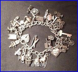 100% Genuine Sterling Silver Vintage Charm Bracelet