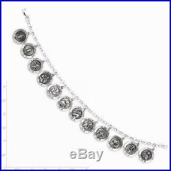 12 Saints Charm Religious Bracelet 7 Inch 925 Sterling Silver 15.55 gr