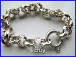12mm Sterling Silver Hammered Rolo Link Charm Bracelet with Large Clasp, 8 inch