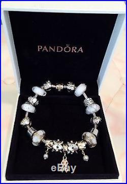 18cm Pandora 14k Gold Clasp Pure As Pearl Theme Bracelet, 19 Pandora Charms + SC
