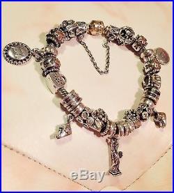 19.5cm Pandora 14k Gold Clasp Mum's Love Bracelet, 21 Pandora Charms +Safety C