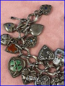 1940's Sterling Silver Puffy enamel + engraved Heart Charm Bracelet vtg jewelry