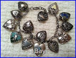 1940's Vintage Sterling Silver Puffy Heart Charm Bracelet & 14 Charms, Enamel