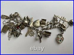 1940s Sterling Silver Charm Bracelet, Lampl, Moveable, Puffy Heart, Rare! Vtg