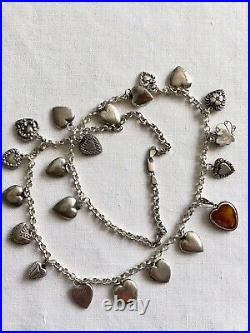 21 Sterling Silver Puffy Heart Charm Necklace 61 grams 19 r Antique Bracelet