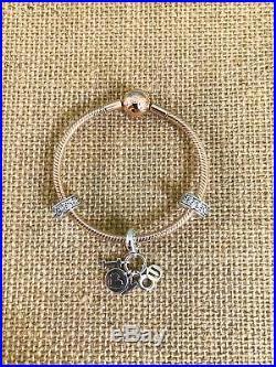 $290 PANDORA Rose Gold Smooth Clasp Bracelet Sterling Silver I Love You Charm