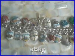 30 Charms! VINTAGE 800 925 Silver GERMANY Enamel Travel Shield CHARM BRACELET