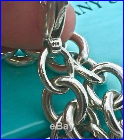 $310 Return To Tiffany & Co Silver Heart Charm 7.5 Bracelet 35gr with Box 2002F
