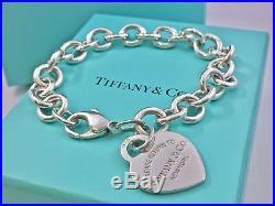 $310 Return To Tiffany & Co Silver Heart Tag Charm 7.5in Bracelet 35gr 190521A