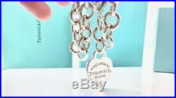 $310 Return To Tiffany & Co Silver Heart Tag Charm Bracelet 7.5 /35 gr 19081
