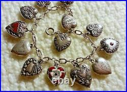 40's Vintage Sterling Silver Puffy Heart Charm Bracelet & 13 Charms, Lampl, Enamel