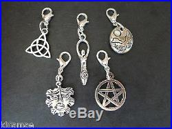 5 x Clip On Earth Bracelet Charms pagan silver set goddess pentacle green man