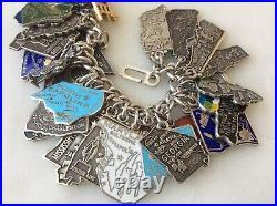 55 Vintage Sterling Silver & Cloisonné Enamel US 1950'State Maps Charm Bracelet