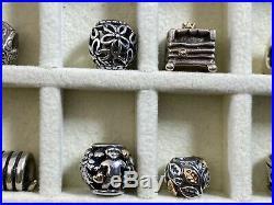 56PC Pandora Sterling 925 Silver Charm Bracelet Jewelry LOT Retired 14KT Gold
