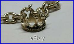 6.75 Tiffany & Co. Sterling Silver Cable Bracelet Crown Tiara Charm FREE SHIP