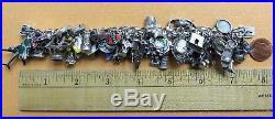 61 Charms! HUGE VTG 800 Sterling Silver Enamel EUROPEAN TRAVEL CHARM BRACELET