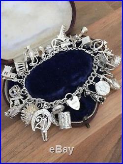 7.5 PJC Hallmarked Vintage Sterling Silver Heavy Charm Bracelet 70g B'gham 1980