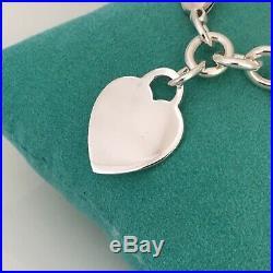 7.5 Tiffany & Co Sterling Silver Blank Heart Charm Tag Bracelet