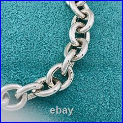 7.5 Tiffany & Co Sterling Silver Rolo Round Link Lobster Clasp Charm Bracelet