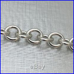 7.75 Medium Tiffany & Co Sterling Silver Blank Heart Tag Charm Bracelet