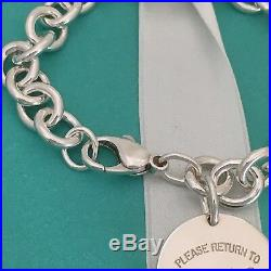 7.75 Please Return to Tiffany & Co Silver Round Circle Tag Charm Heart Bracelet