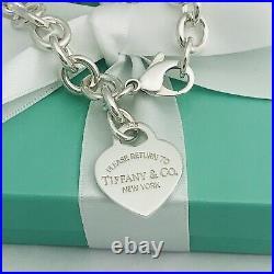 7 Small Please Return to Tiffany & Co Silver Heart Tag Charm Bracelet