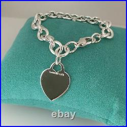 7 Small Tiffany & Co Sterling Silver Blank Heart Tag Charm Bracelet
