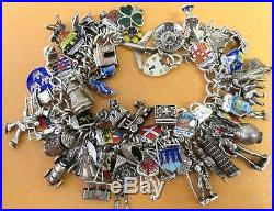 14 VINTAGE STERLING SILVER CHARM CHARMS UK /& EUROPE TRAVEL SHIELD