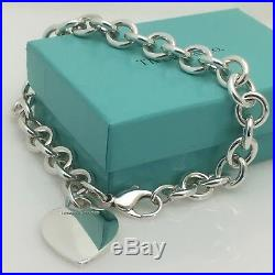 8.25 Large Tiffany & Co Sterling Silver Blank Heart Tag Charm Bracelet