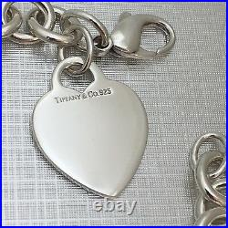 8.5 Large Tiffany & Co Sterling Silver Blank Heart Tag Charm Bracelet