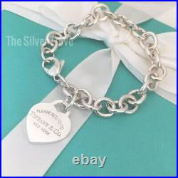 8 Please Return to Tiffany & Co Sterling Silver Heart Tag Charm Bracelet
