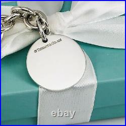 8 Return to Tiffany & Co. Round Tag Bracelet Charm 925 Silver Authentic