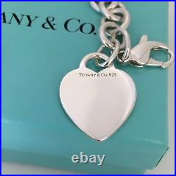 8 Tiffany & Co Silver Blank Heart Tag Charm Bracelet Authentic