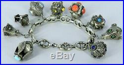 800 Silver Made In Italy Victorian Etruscan Large Italian 9 Charm Bracelet 8 L
