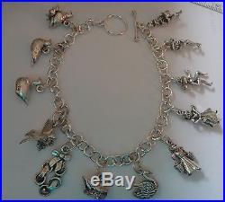 9 Sterling Silver Large Hvy 51 gram 12 days of Christmas Charm Bracelet