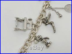 925 Sterling Silver 7.5 Charm Bracelet with 15 Various Charms (RF1075)