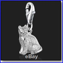925 Sterling Silver Cat Clip on Bracelet Charms for Charm Bracelets 3D