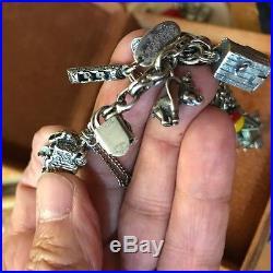 925 Sterling Silver Charm Bracelet Carnival Circus Amusement Park Rare
