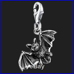 925 Sterling Silver Clip On Bracelet Charm Bat 3D Charms For Bracelets