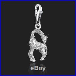 925 Sterling Silver Clip On Bracelet Charm Giraffe Charms For Bracelets Animals