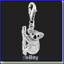 925 Sterling Silver Clip On Bracelet Charm Koala Bear 3D Charms For Bracelets