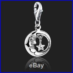 925 Sterling Silver Clip On Bracelet Charm Moon & Star Charms for Bracelets 3D