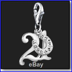 925 Sterling Silver Clip On Bracelet Charm Number 21 Age 21st Birthday 3D Charms