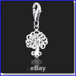 925 Sterling Silver Clip On Bracelet Charm Tree of Life 3D Charms For Bracelets