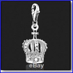 925 Sterling Silver Clip on Bracelet Charm Crown 3D Charms for Bracelets