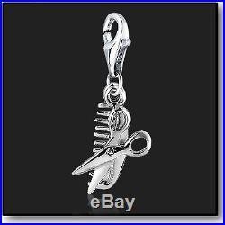 925 Sterling Silver Clip on Bracelet Charm Haircut Scissors & Comb 3D Charms