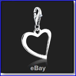 925 Sterling Silver Clip on Bracelet Charm Open Heart Charms for Bracelets