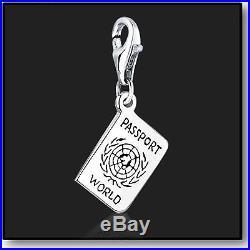 925 Sterling Silver Clip on Bracelet Charm Passport 3D Charms for Bracelets